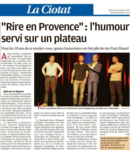 Article du spectacle du 13 octobre 2017